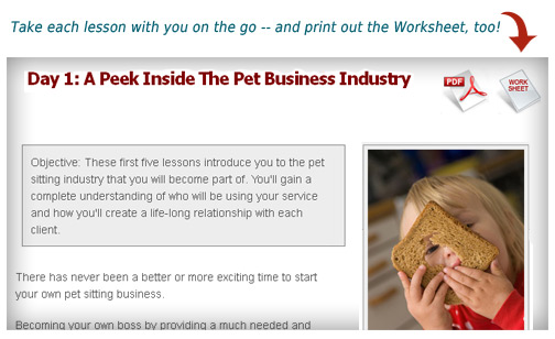 pet sitting lessons screen shot