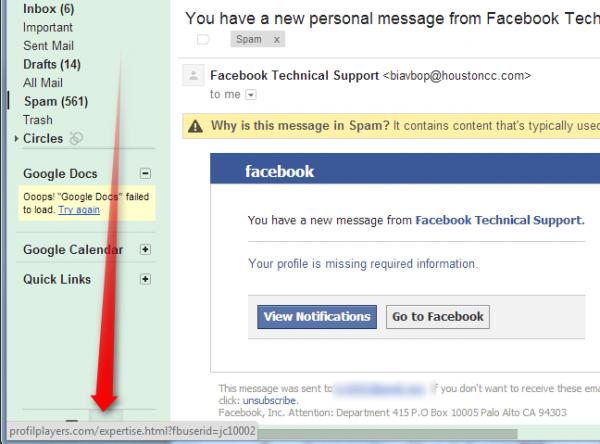 bad facebook link