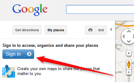 sign into Google to create map