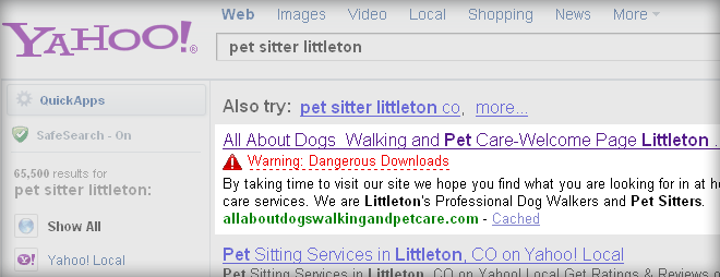 yahoo warning for pet sitters