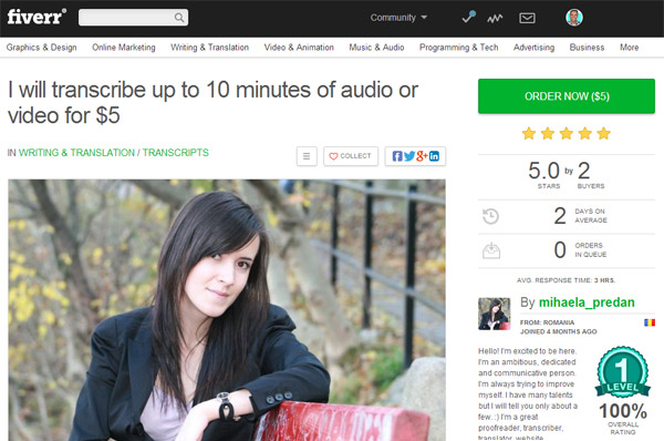 transcribe with fiverr