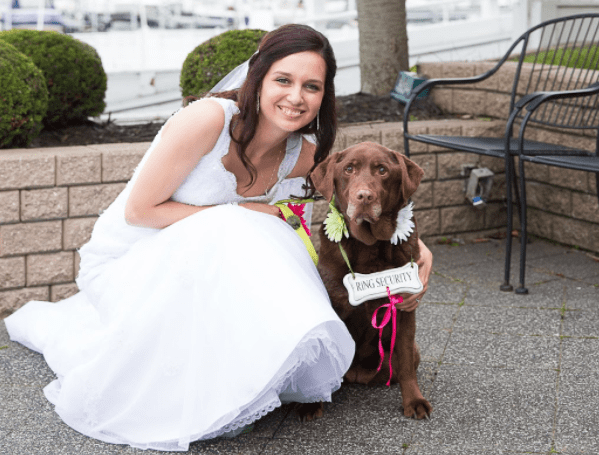 Sarah Burns In Wedding Dress With Her Dog